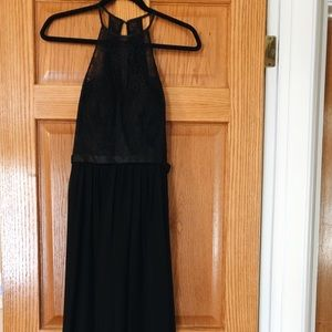 New long black chiffon bridesmaid dress